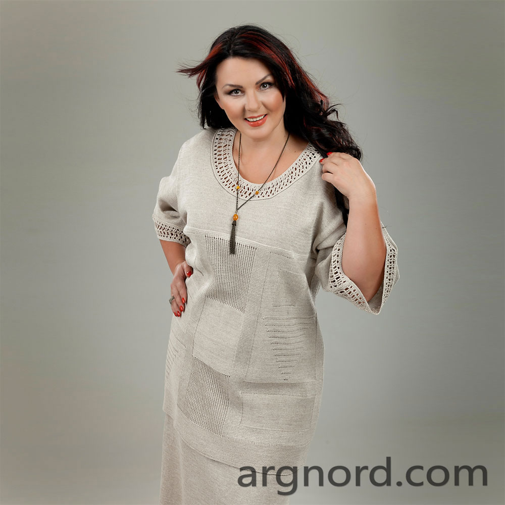 Linen tunic Plus Size with crochet neckline and cuff | 13072