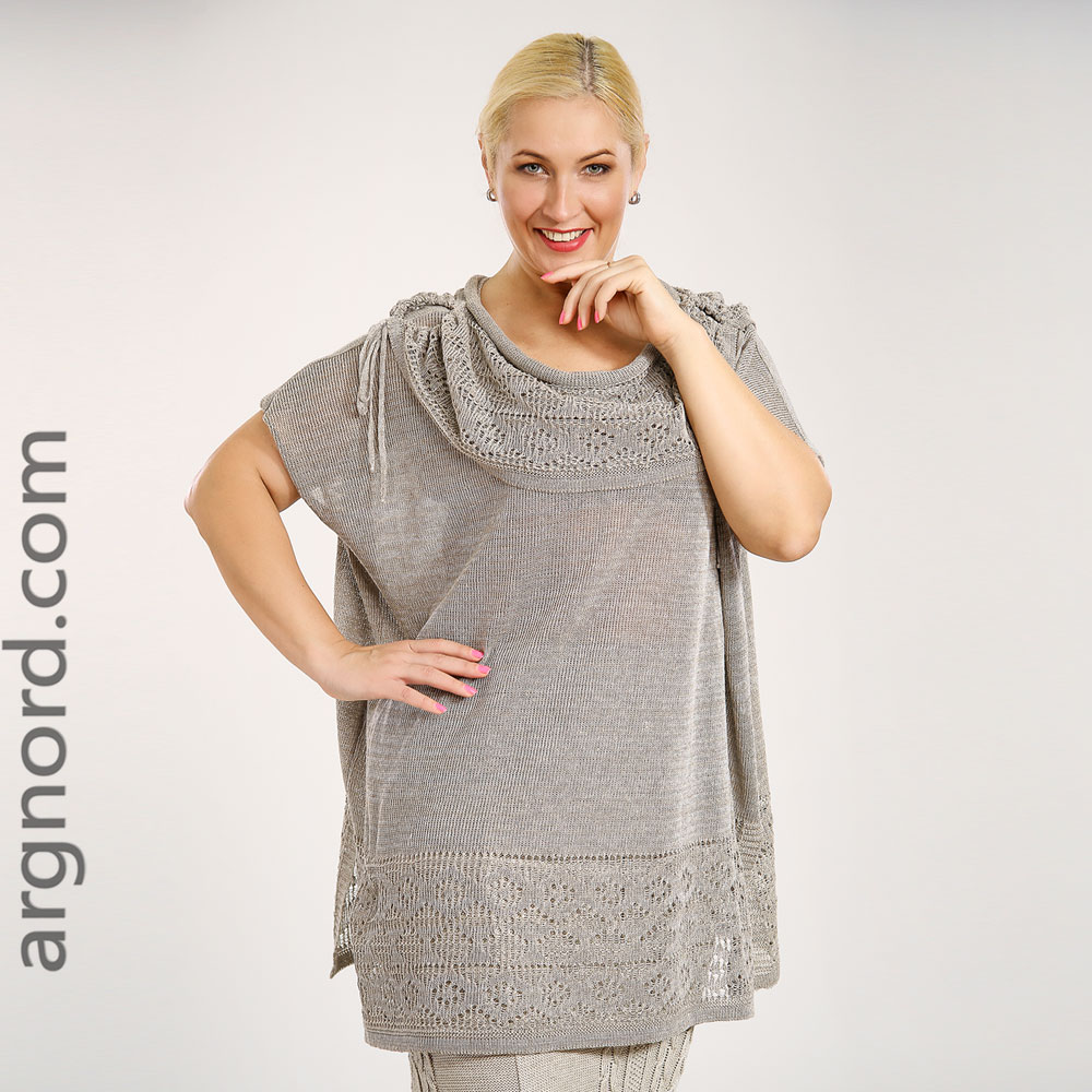 Plus size linen loose tunic with riond neckline and short sleeves | 15037