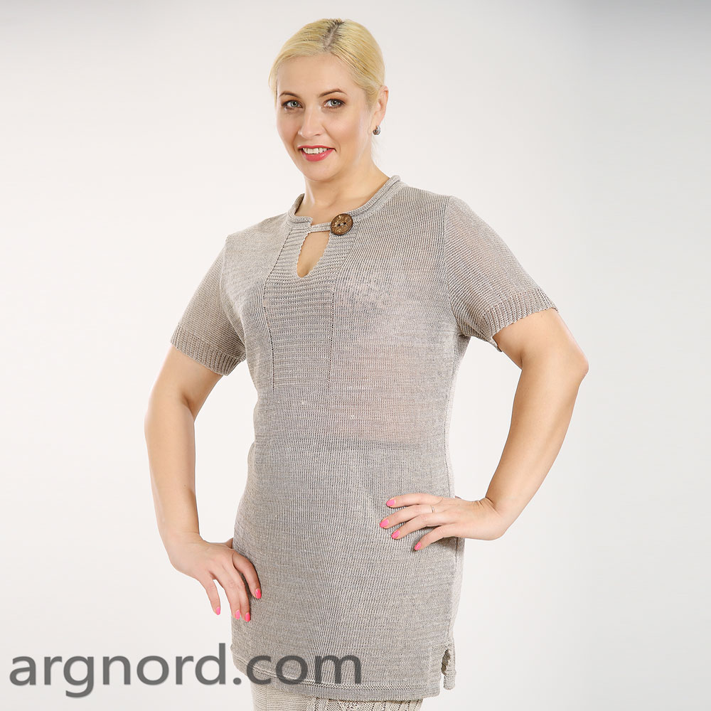 Linen knit tunic with short sleeves   15030