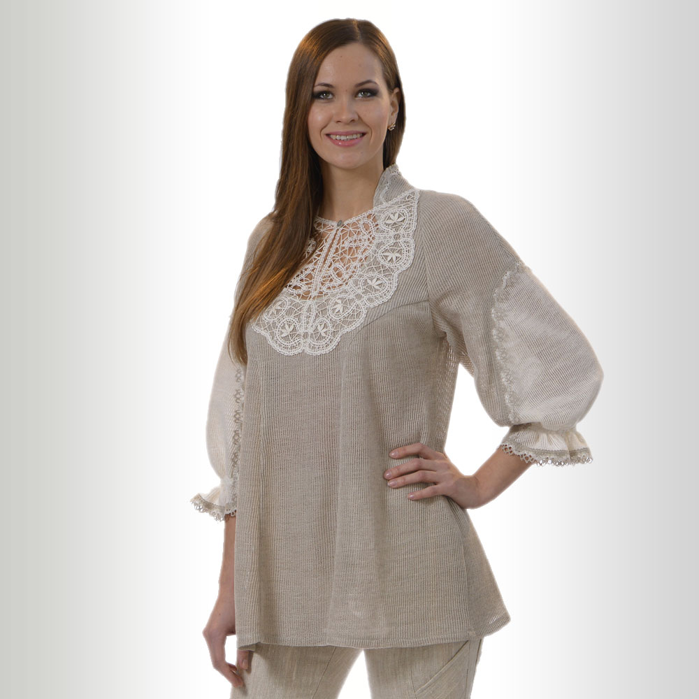 Loose Linen tunic with lace | 60-13