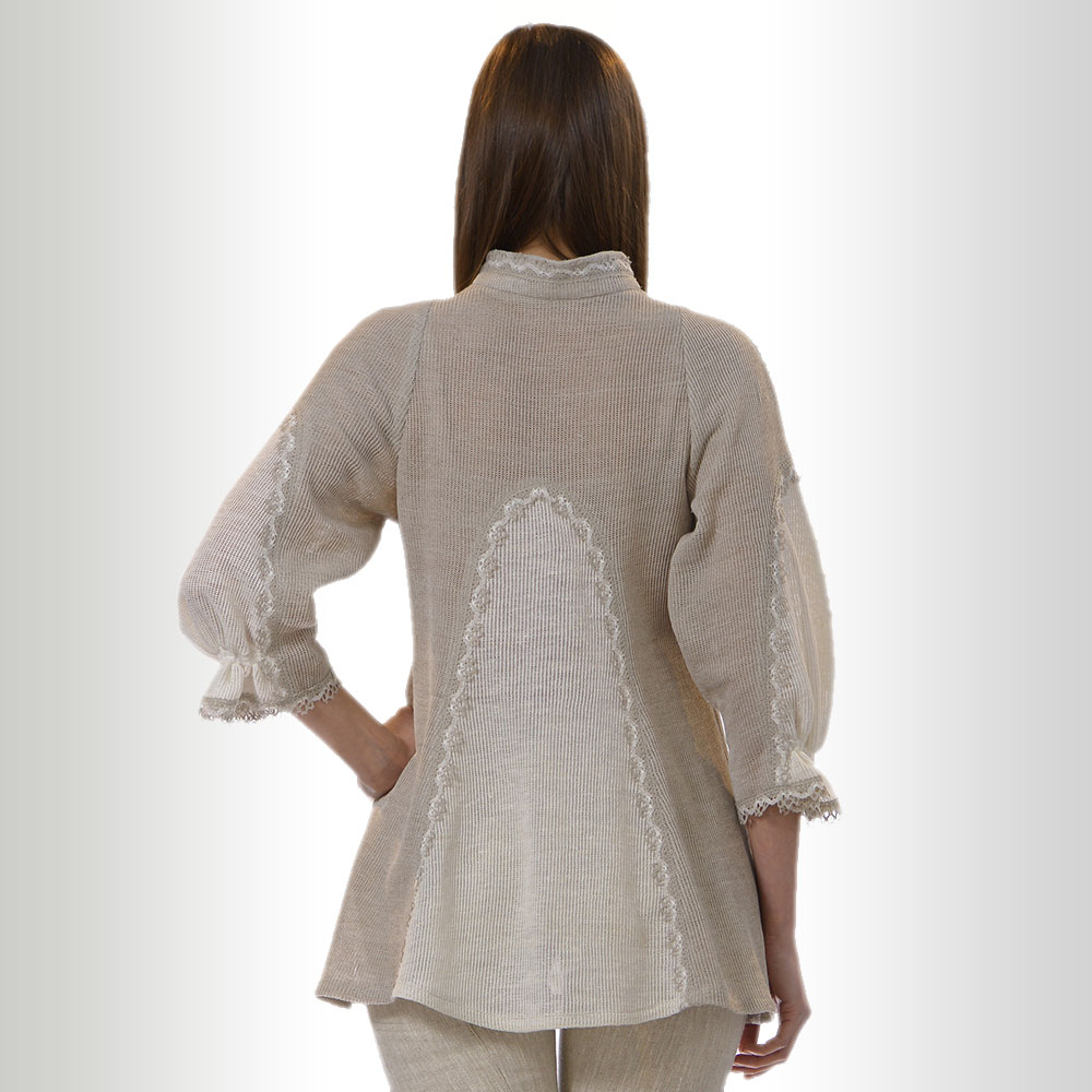 Loose Linen tunic with lace   60-13