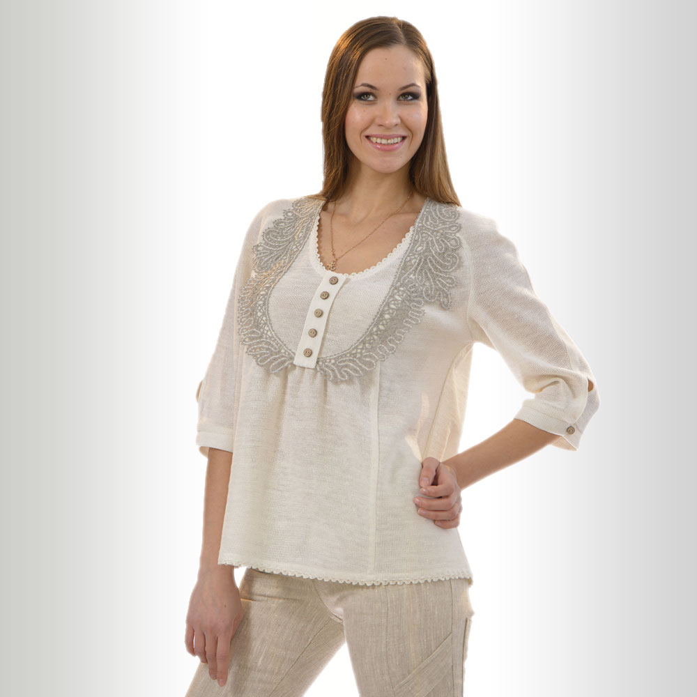 Linen Tunic with lace and decoration buttons with 3/4 sleeves | 347-12