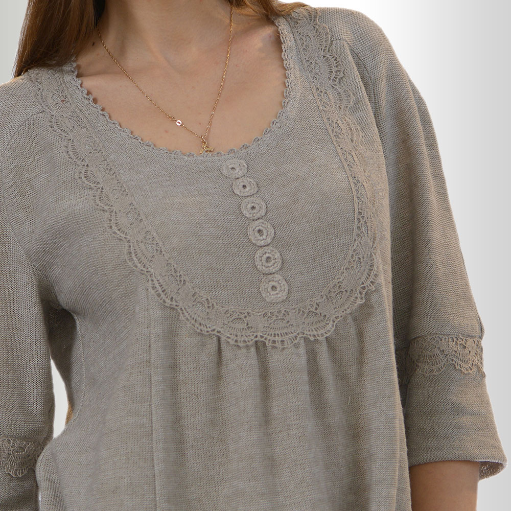 Grey Linen Women tunic Loose fit with 3/4 sleeves | 348-12
