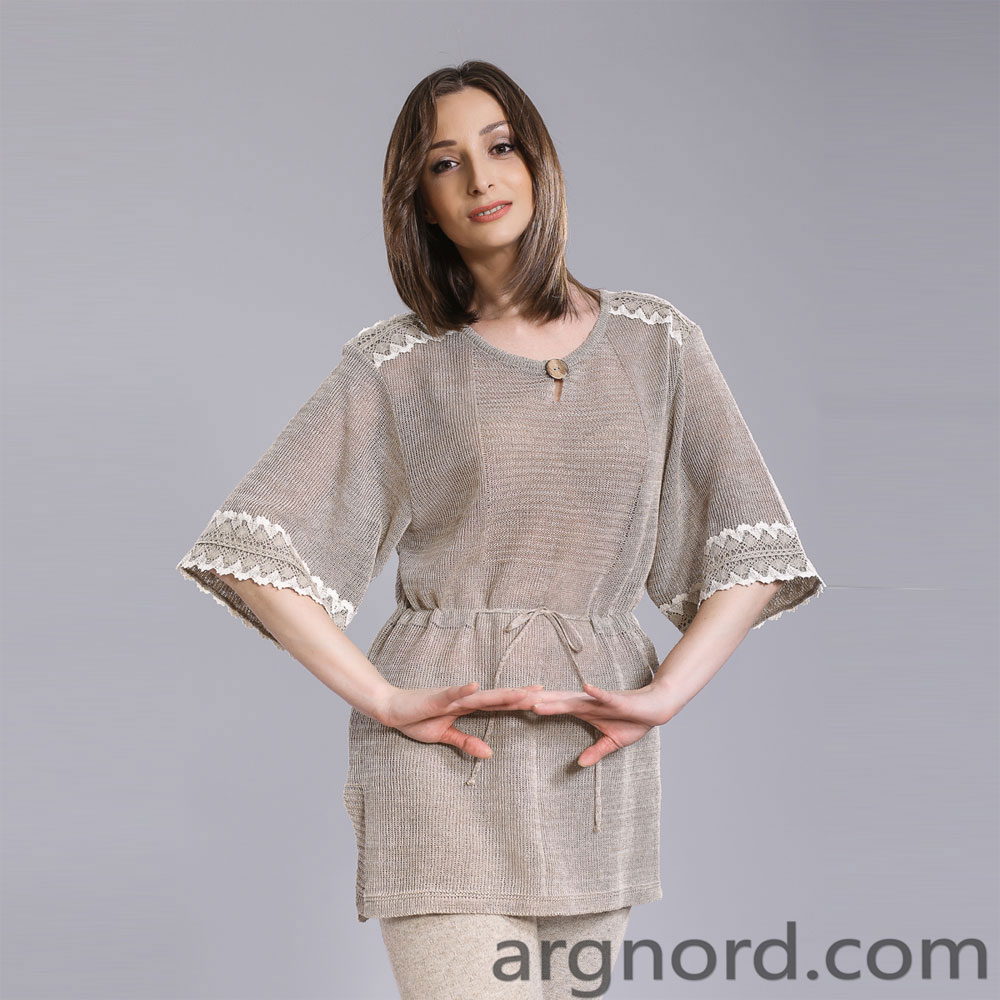 Linen tunic with lace and belt   15063
