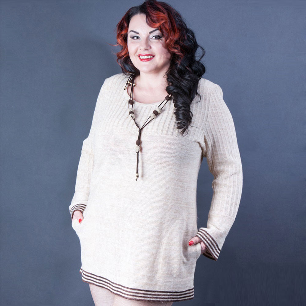 Linen tunic for women with round neckline and two pockets   339-15