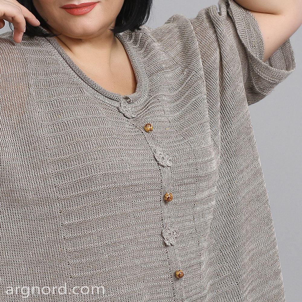 Loose fit tunic with decorative buttons | 15075