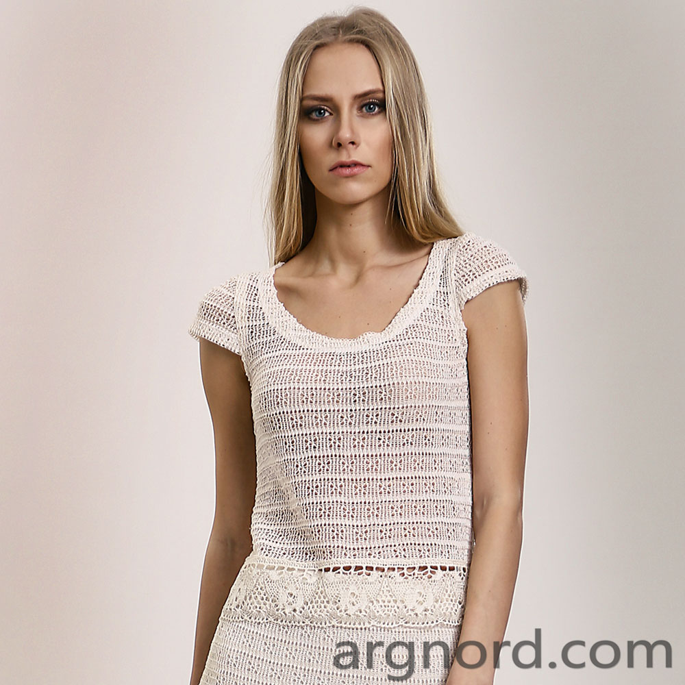 White Openwork shirt with lace and round neckline | 14084