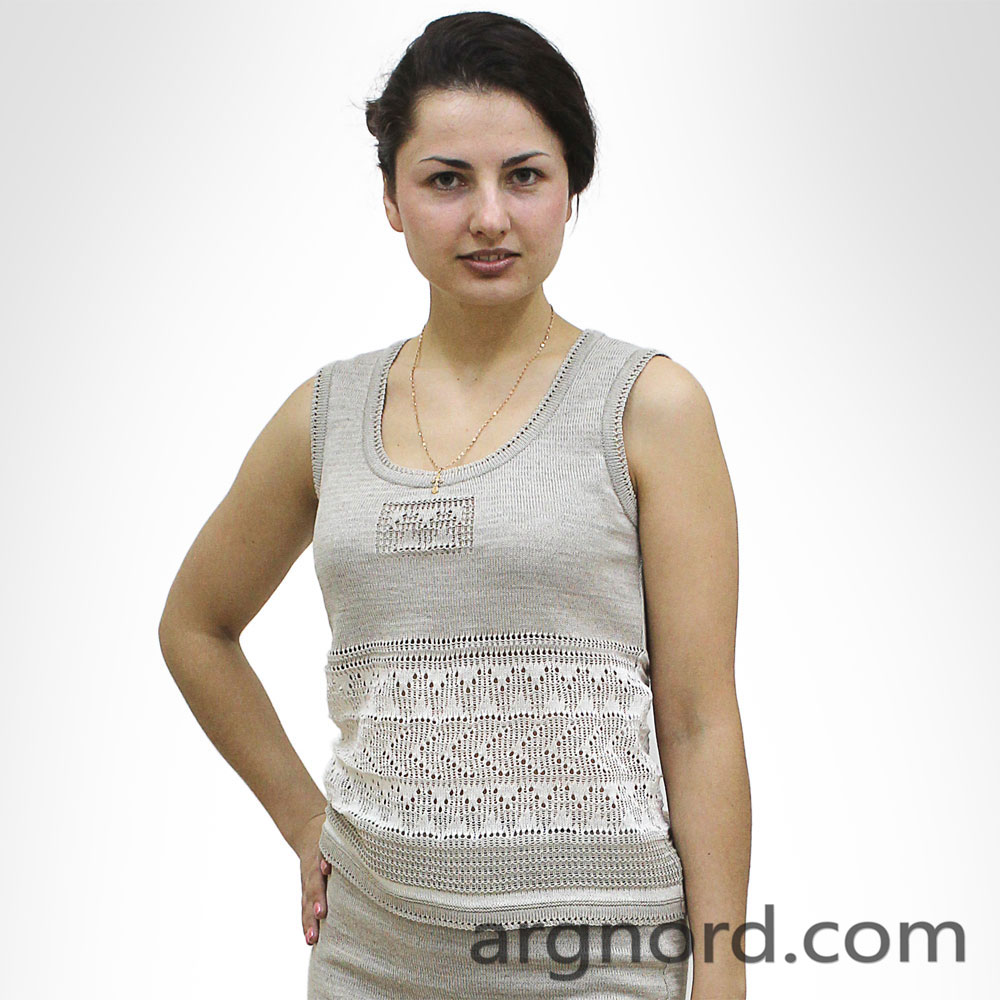 Grey and White Linen Top with openwork knit | 13034