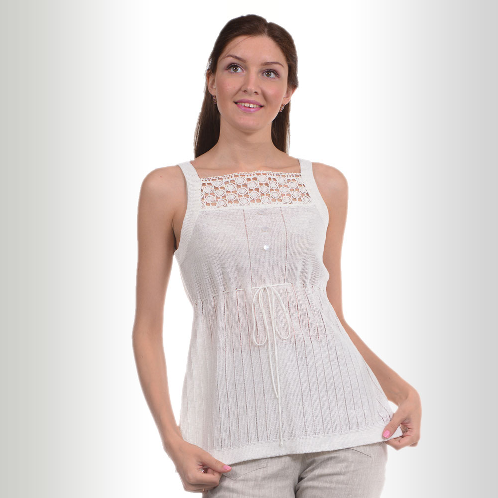 White linen top with lace decoration and buttons | 142-15