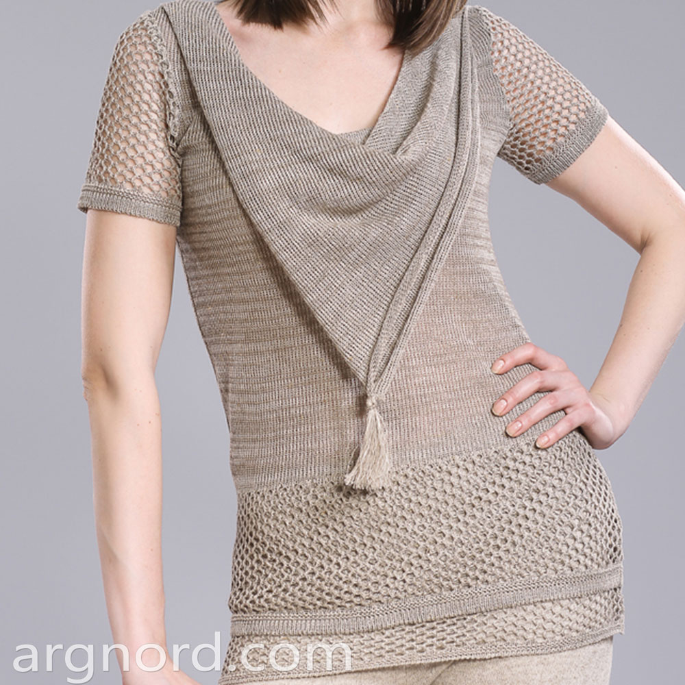 T-short with openwork knit and decorated color | 15069