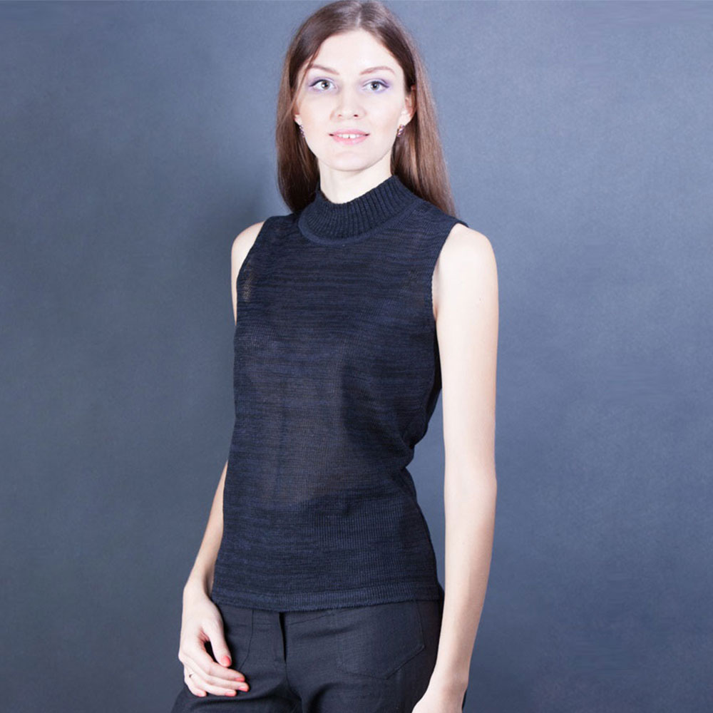 Linen black top with high colar | 328-05