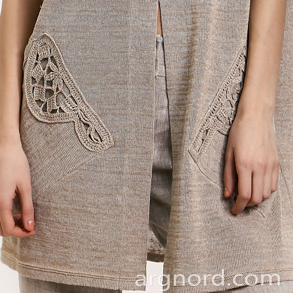 Linen cardigan with openwork crochet elements | 14094