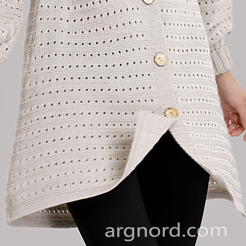 Medium linen and wool mixture cardigan with bottom | 14013