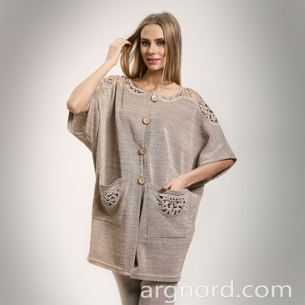 Grey long cardigan with pockets | 14059
