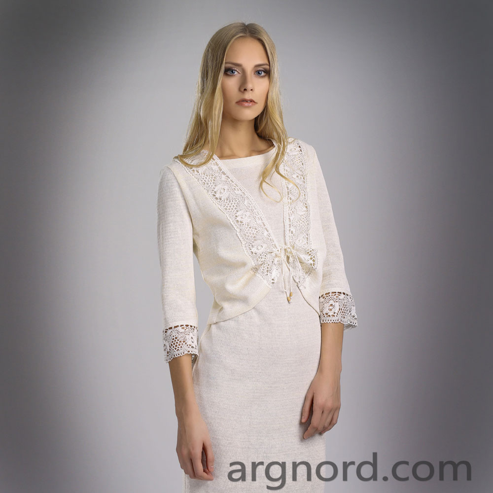 Short Linen blazer with Lace and 3/4 sleeves (White or Grey) | 14063
