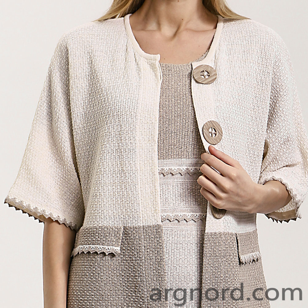 Long Linen cardigan for women with button | 14087