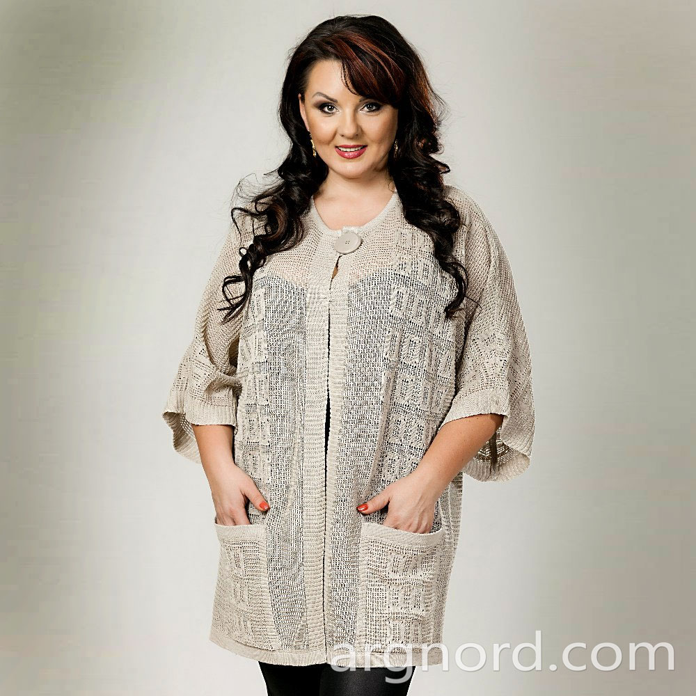 White linen blazer with openwork knit and two pockets | 12154