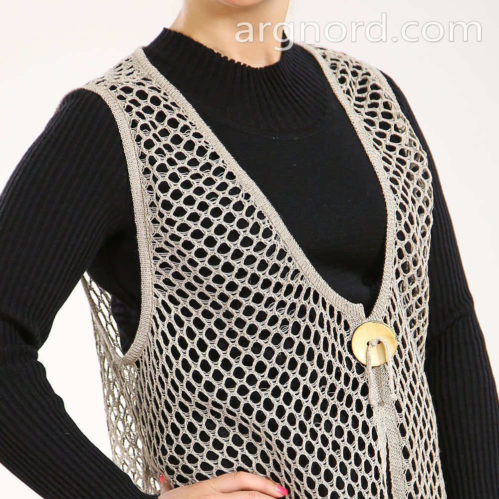 Linen grey vest with button and openwork knit | 3510