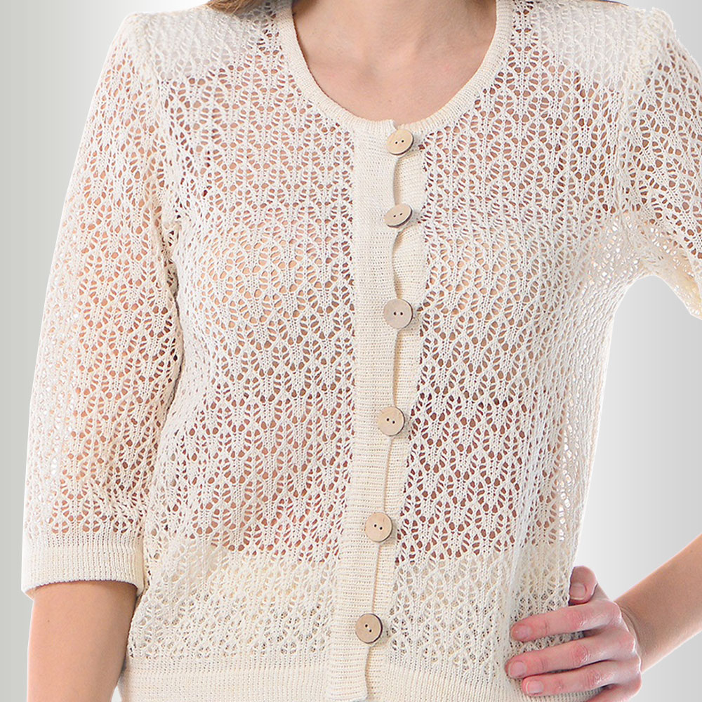 Openwork Shirt with the buttons and 3/4 sleeves | 67-14