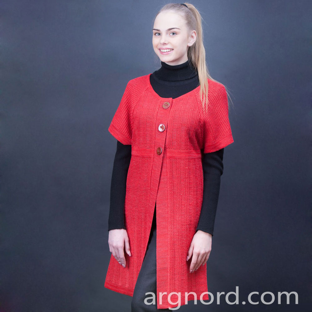 Red linen cardigan with short sleeves | 243-15