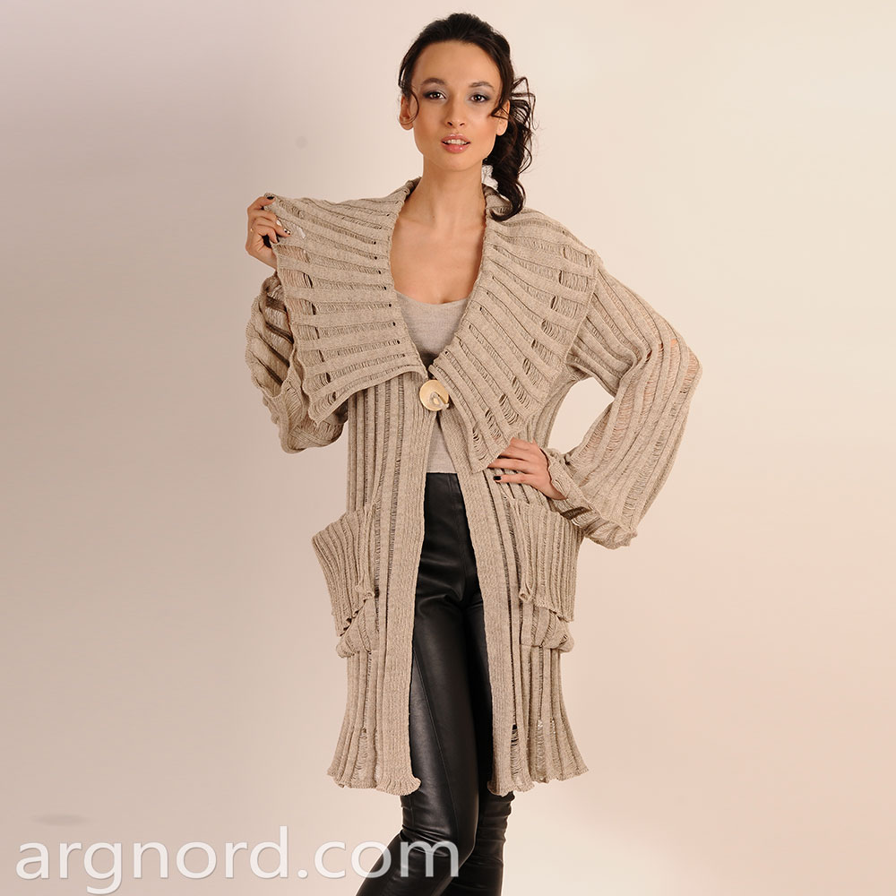 Ribbed Long cardigan with pockets and long sleeves | 2540