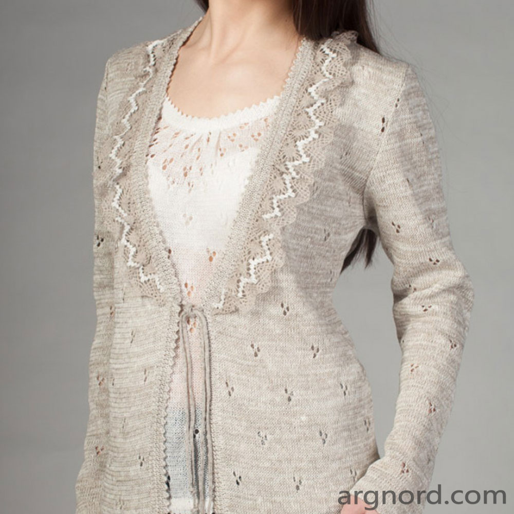 Linen cardigan with lace | SN-6-12