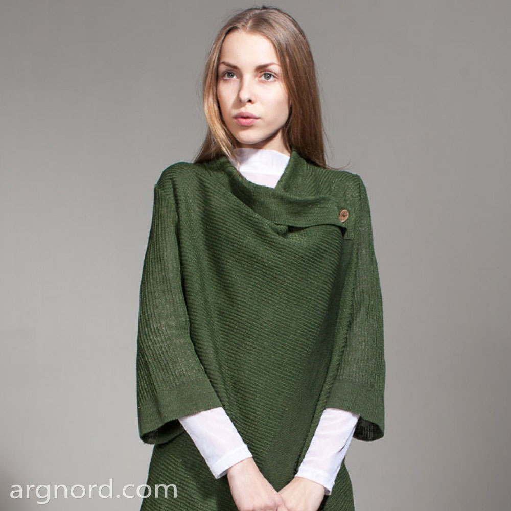 Green Linen cardigan with 1/2 sleeves | SN-6-17