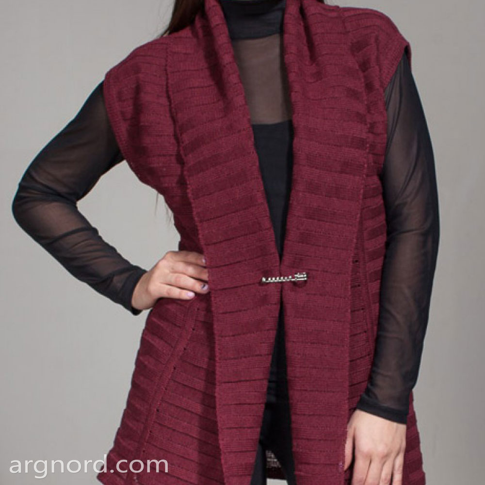 Cherry-colored Long vest | SN-7-22