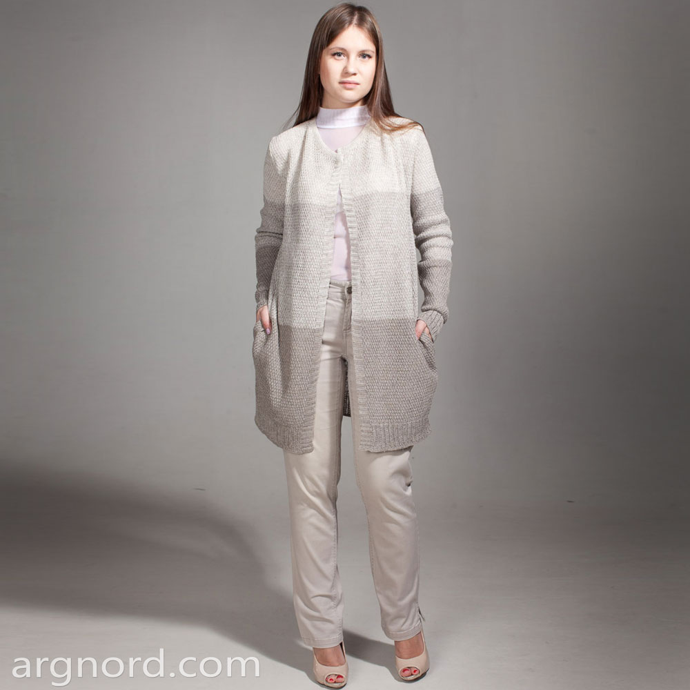 Long linen cardigan with round neckline | SN-6-18
