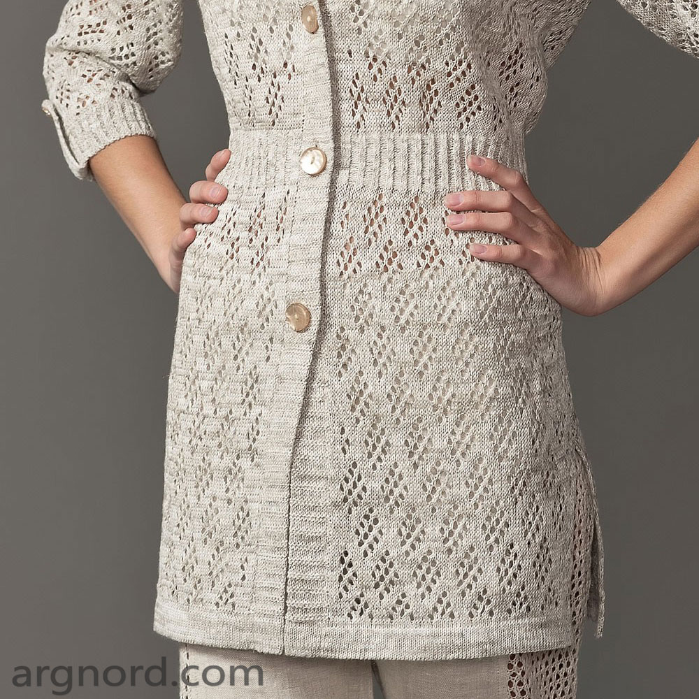 Nature linen cardigan with openwork and elastic waist | SN-6-07