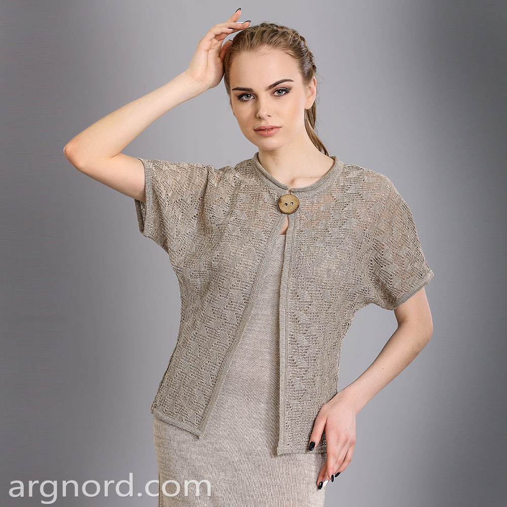 Linen openwork cardigan with button | 15098